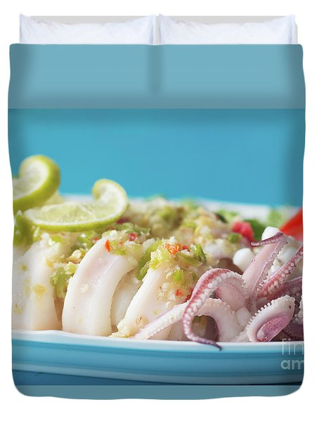 Duvet Cover featuring the photograph Spicy Food, Steamed Squid by Atiketta Sangasaeng