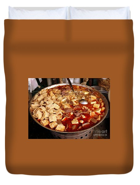 Duvet Cover featuring the photograph Spicy Tofu Dish With Duck Blood Cakes by Yali Shi