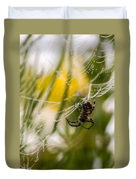Spider And Spider Web With Dew Drops 04 Duvet Cover