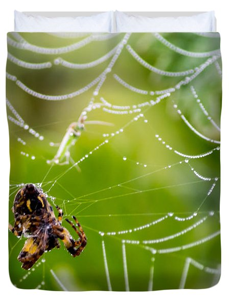 Spider And Spider Web With Dew Drops 05 Duvet Cover