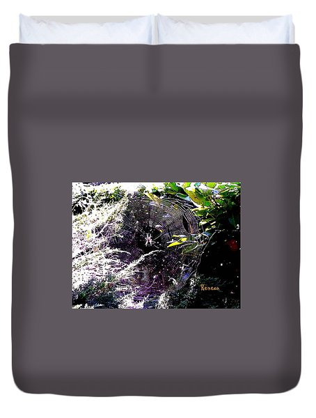 Duvet Cover featuring the photograph Spider And Web 2 by Sadie Reneau