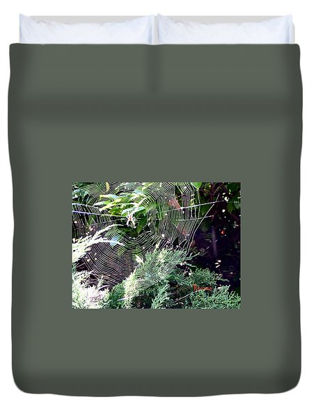 Duvet Cover featuring the photograph Spider And Web by Sadie Reneau