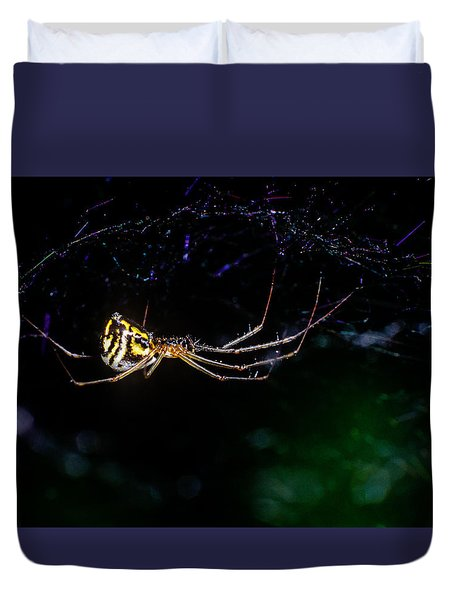 Spider Hanging In Web Duvet Cover by John Brink