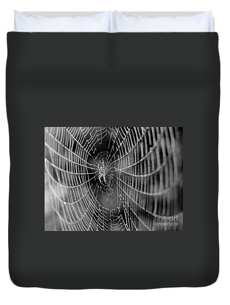 Spider In A Dew Covered Web - Black And White Duvet Cover