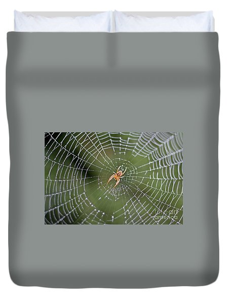 Spider In A Dew Covered Web Duvet Cover