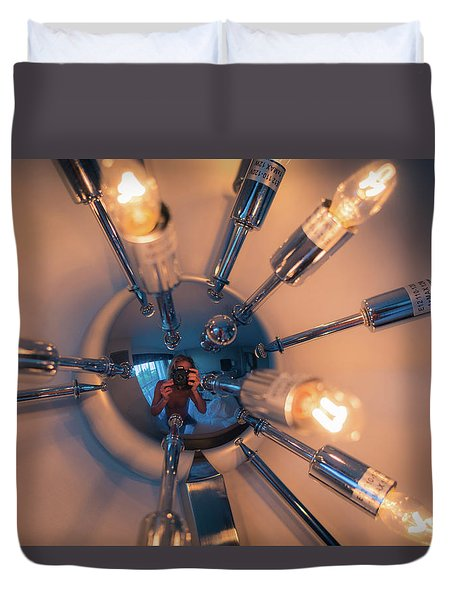 Duvet Cover featuring the photograph Spider Light Reflected Portrait by T Brian Jones