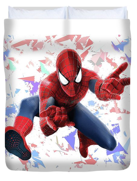 Duvet Cover featuring the mixed media Spider Man Splash Super Hero Series by Movie Poster Prints