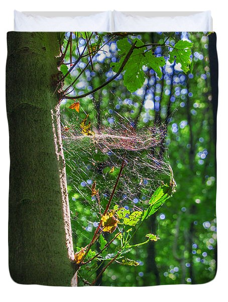 Spider Web In A Forest Duvet Cover