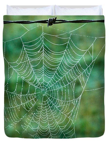 Spider Web In The Springtime Duvet Cover by Douglas Barnett