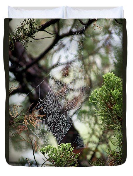 Spider Web In Tree Duvet Cover