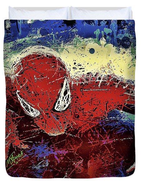 Spiderman Climbing  Duvet Cover