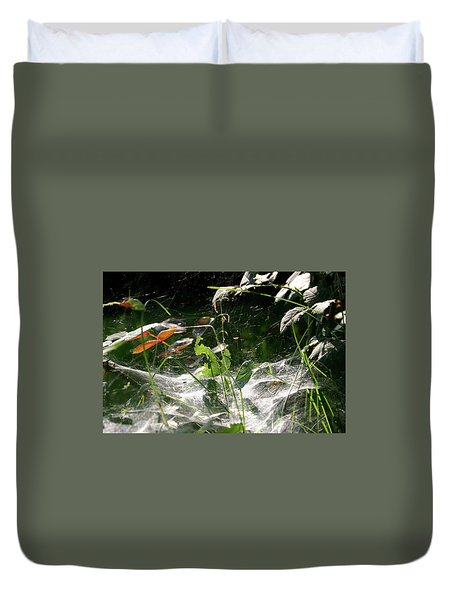 Spiderweb Over Rose Plants Duvet Cover