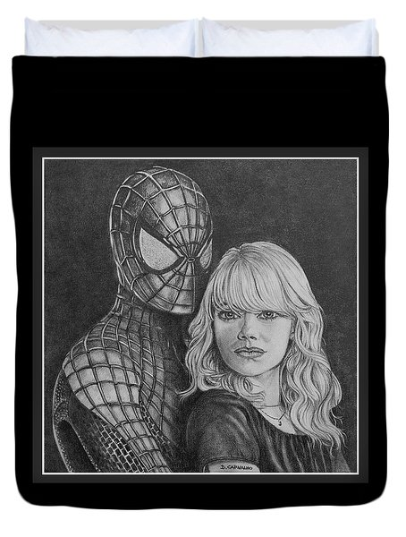 Spidey And Gwen Duvet Cover