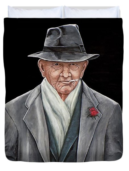 Duvet Cover featuring the painting Spiffy Old Man by Judy Kirouac