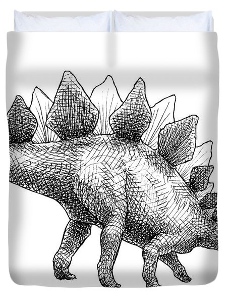 Stegosaurus - Dinosaur Decor - Black And White Dino Drawing Duvet Cover