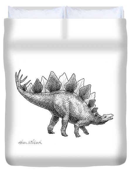 Duvet Cover featuring the drawing Spike The Stegosaurus - Black And White Dinosaur Drawing by Karen Whitworth