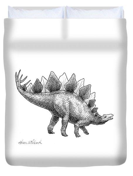 Spike The Stegosaurus - Black And White Dinosaur Drawing Duvet Cover by Karen Whitworth
