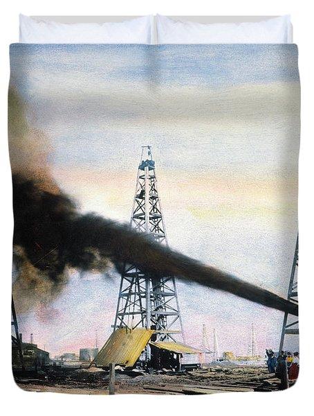 Spindletop Oil Pool, C1906 Duvet Cover