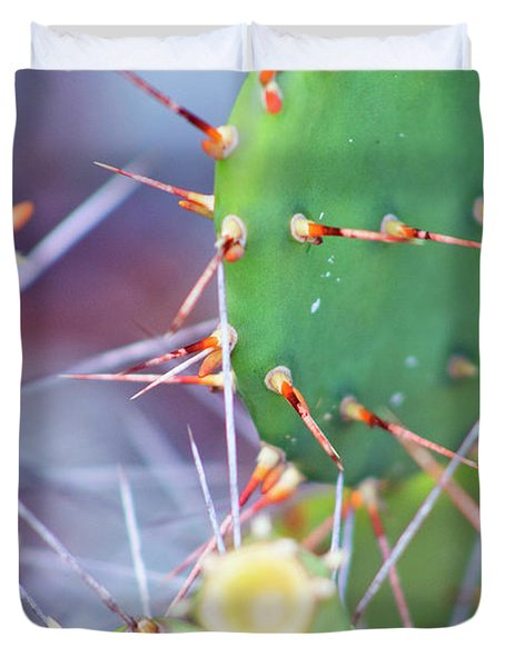 Duvet Cover featuring the photograph Spines Prickly Pear Cactus by D Renee Wilson