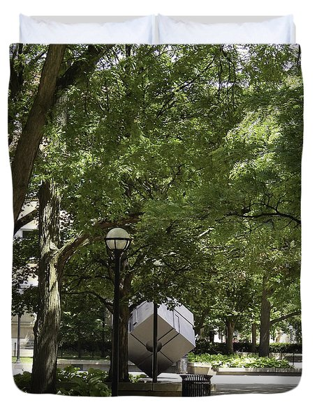 Spinning Cube On Campus Duvet Cover