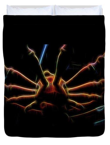 Spinning Wheel In Neon Duvet Cover by Aliceann Carlton