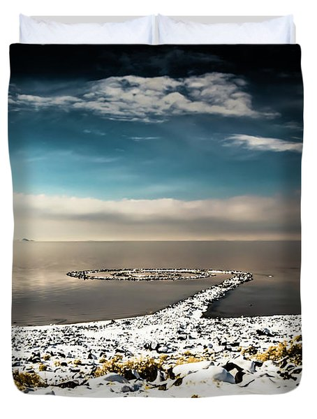Spiral Jetty In Winter Duvet Cover