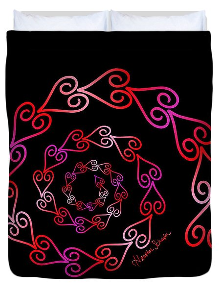 Spiral Of Hearts Duvet Cover