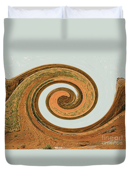 Duvet Cover featuring the digital art Spiral Of Red Rock, Sand, And Sandstone  by Merton Allen