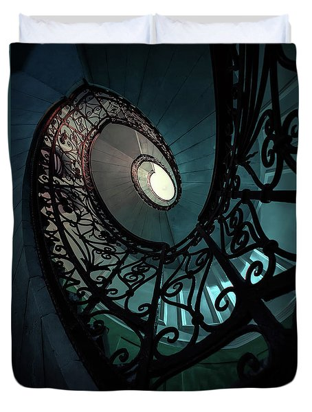 Duvet Cover featuring the photograph Spiral Ornamented Staircase In Blue And Green Tones by Jaroslaw Blaminsky