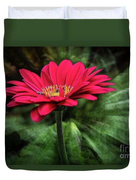 Spiral Pink Flower Focus Duvet Cover