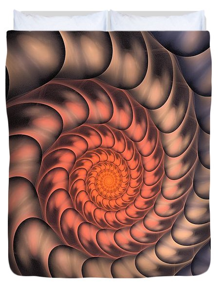 Duvet Cover featuring the digital art Spiral Shell by Anastasiya Malakhova
