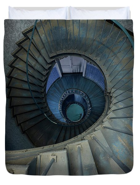 Spiral Staircase In Brown And Blue Colors Duvet Cover