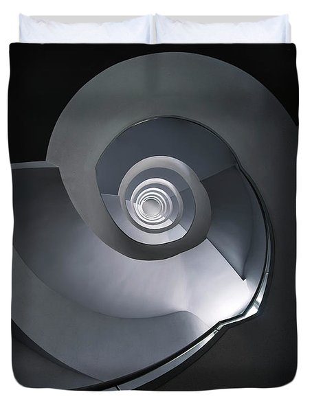 Spiral Staircase In Grey And Blue Tones Duvet Cover by Jaroslaw Blaminsky