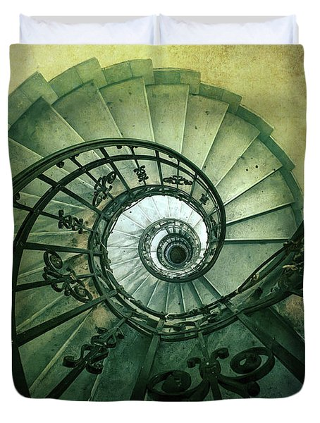 Duvet Cover featuring the photograph Spiral Stairs In Green Tones by Jaroslaw Blaminsky