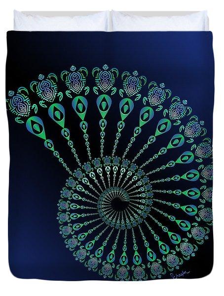 Tribal Turtle Spiral Shell Duvet Cover