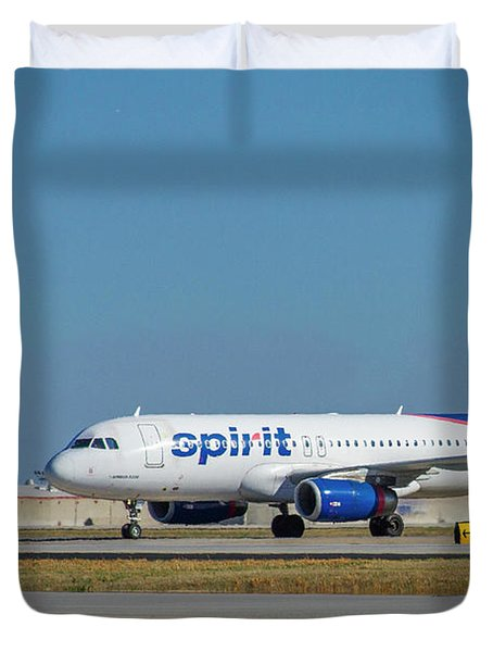 Duvet Cover featuring the photograph Spirit Airlines Airbus A320 N608nk Airplane Art by Reid Callaway