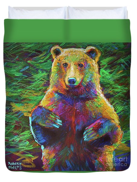 Duvet Cover featuring the painting Spirit Bear by Robert Phelps