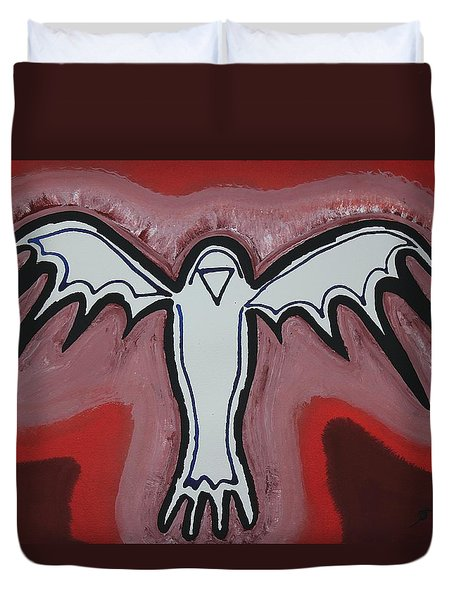 Spirit Crow Original Painting Duvet Cover by Sol Luckman