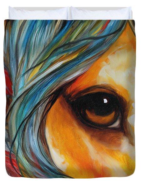 Spirit Eye Indian War Horse Duvet Cover