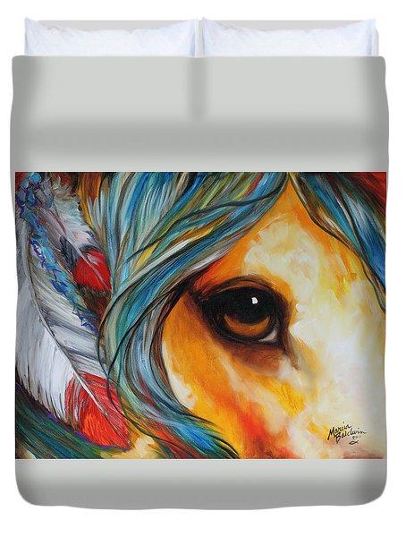 Spirit Eye Indian War Horse Duvet Cover by Marcia Baldwin