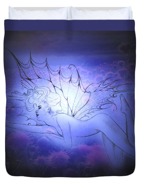Duvet Cover featuring the painting Spirit Fay by Ragen Mendenhall