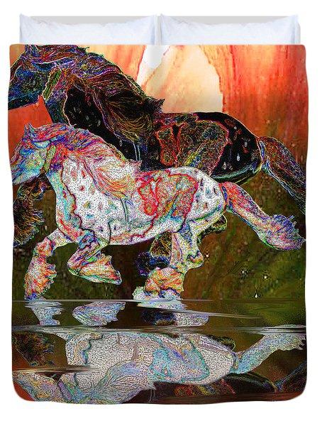Spirit Horse II Leopard Gypsy Vanner Duvet Cover