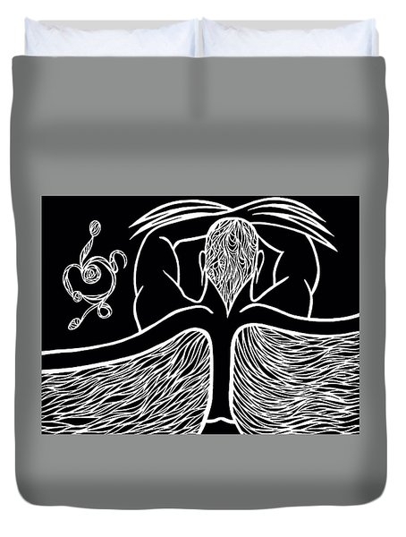 Duvet Cover featuring the drawing Spirit II by Jamie Lynn