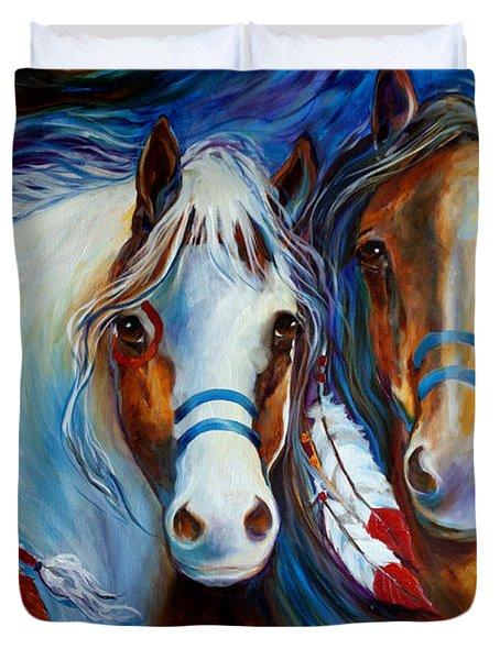 Spirit Indian War Horses Commission Duvet Cover