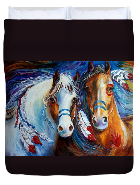 Spirit Indian War Horses Commission Duvet Cover