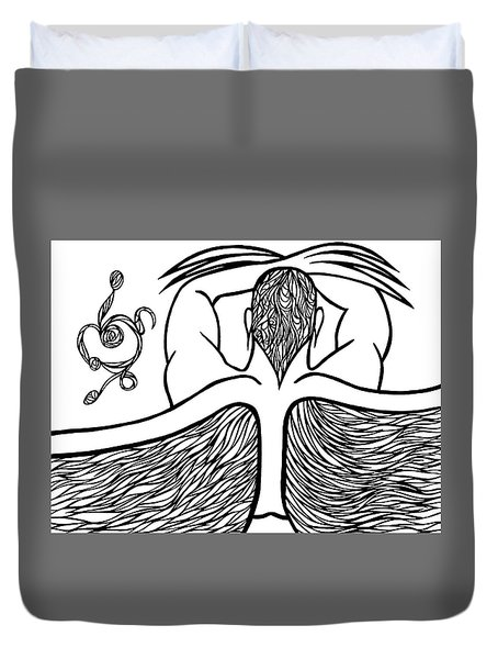 Duvet Cover featuring the drawing Spirit by Jamie Lynn