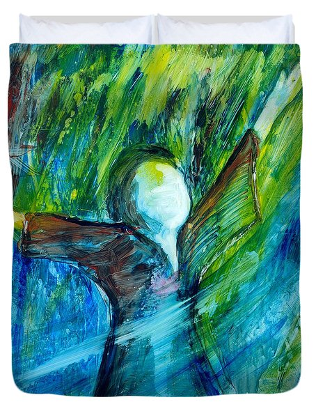 Duvet Cover featuring the painting Spirit Move by Deborah Nell
