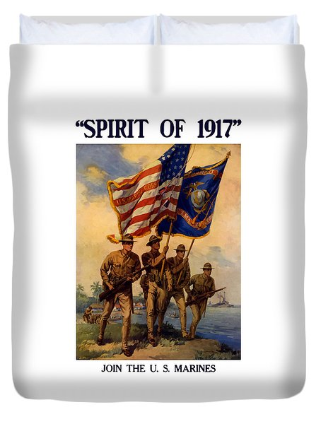 Spirit Of 1917 - Join The Us Marines  Duvet Cover by War Is Hell Store