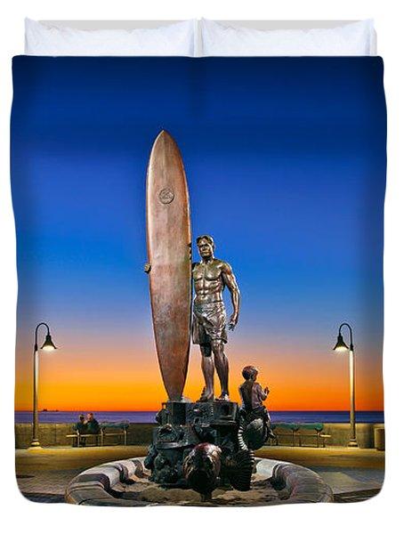 Spirit Of Imperial Beach Surfer Sculpture Duvet Cover