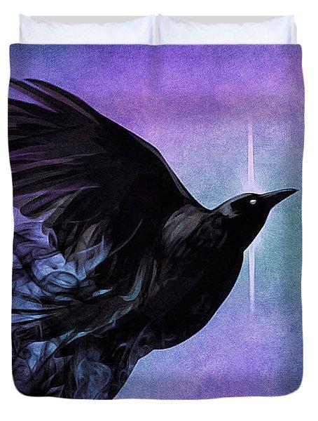 Duvet Cover featuring the digital art Spirit Raven by Susan Maxwell Schmidt